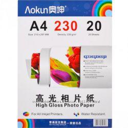 Фотобумага &Lambdaokun FBA4230 глянцевая, A4, плотность-230 г-м, 20 штук упаковк