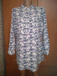 Красивая блузка туника лён Индия ПОГ 55 см