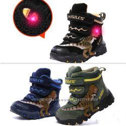 Детские светящиеся зимние 3D ботинки DINOSOLES, в ассортименте