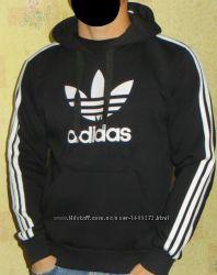Спортивная кофта - худи Adidas теплая с капюшоном черная. d01a7f9a6275b