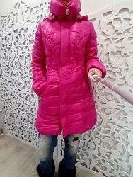 Пуховик Snowimage длиный зимний 70 пух яркий розовый пальто