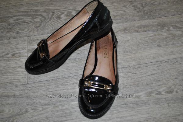 Туфли Office лоферы лондод лак черные кожаные натуральные брендовые