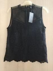 Стильная кружевная кружево блуза, блузка, топ, майка бренда new look, р.8