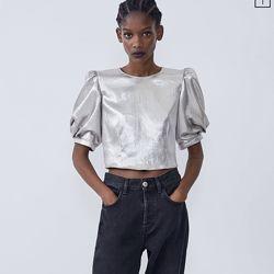 Актуальный топ кроп блуза металлик с пышными рукавами буффами, фонарик, zar