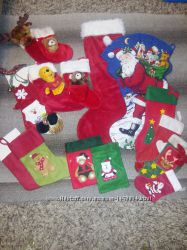 Новогодние рождественские чулки, носки, сапожки на подарки