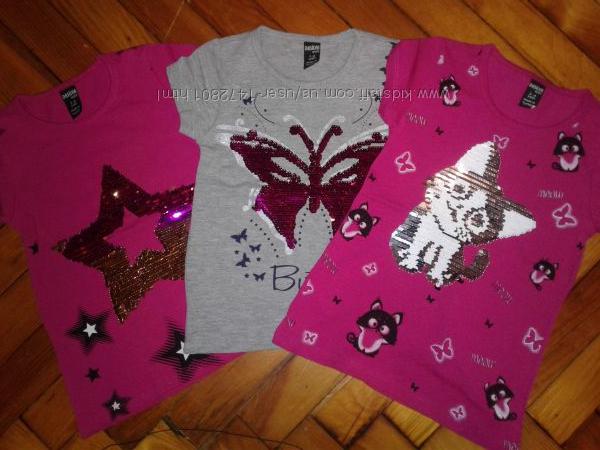 Супер стильная футболка пайетки-перевертыш для девочки 1-8лет, Турция.