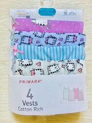 Хлопковые маечки и трусики комплекты  для девочки 1, 5-13лет Primark