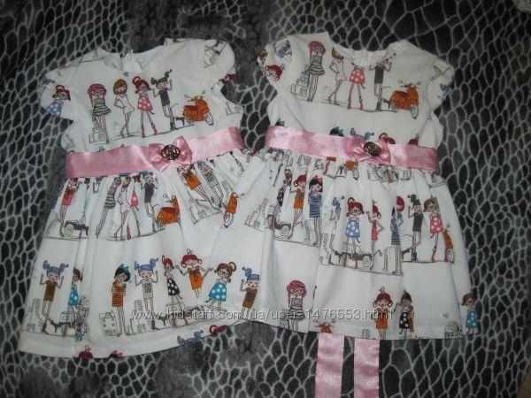 Красивые качественные платья на девочку р. 80, новые