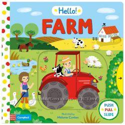 Развивающая книга с подвижными элементами Hello Farm на английском