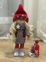 Интерьерная текстильная куколка Зимний гномик