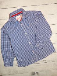 Нарядная хлопковая рубашка в мелкую клетку rebel, для мальчика 6-7 лет, 122р
