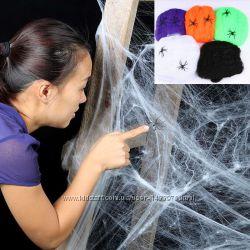 Искусственная паутина декор на Хеллоуин Halloween паутинка и паучки