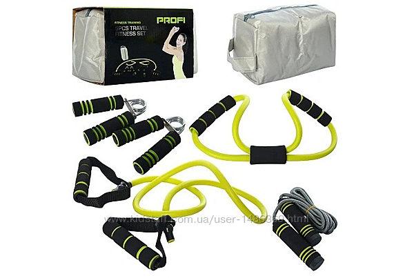 Спортивный набор Profi 5в1 тренажер универсальный фитнес эспандер скакалка