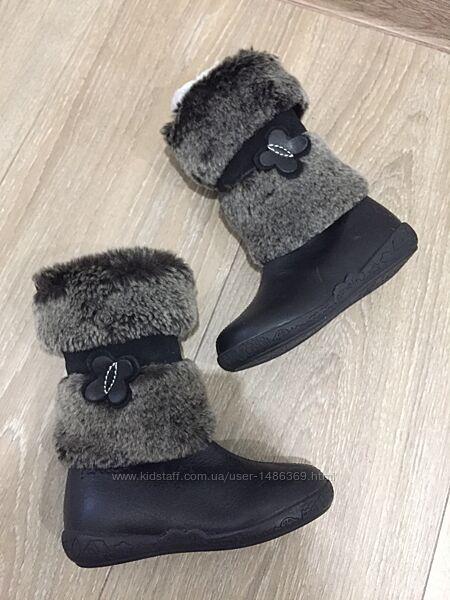 Детские кожаные зимние сапоги на овчине Garvalin 24 р для девочки