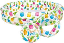 Детский надувной бассейн Ананас с кругом для плаванья и мячиком