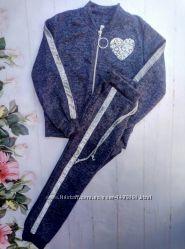 Спортивный детский костюм , для девочки. Ткань  Ангора. Цвет Синий