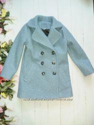 Модное детское пальто, для девочки . Ткань Букле. Цвет Голубой