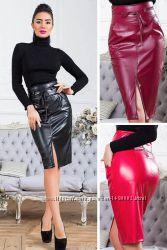 Стильные юбки из эко-кожи 42-70р, цвета