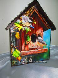 Ключница Птички-невелички. Осень, настенная вешалка в прихожую, детскую.