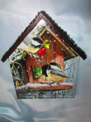 Ключница -домик Птички-невелички. Зима, настенная вешалка