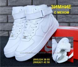 da48bbd3 Зимние женские кроссовки Nike Air Force Winter натуральная кожа с мехом
