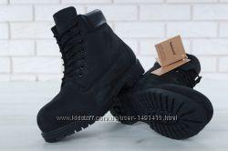 Зимние мужские ботинки Timberland Black с натуральным мехом