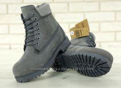 Зимние мужские ботинки Timberland Grey с натуральным мехом