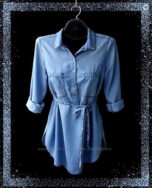 Удлинённая джинсовая рубашка Denim by H&M