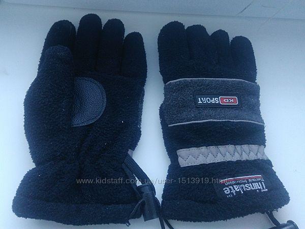 Перчатки зимние унисекс флисовые спортивные Thinsulate на 10-12 лет