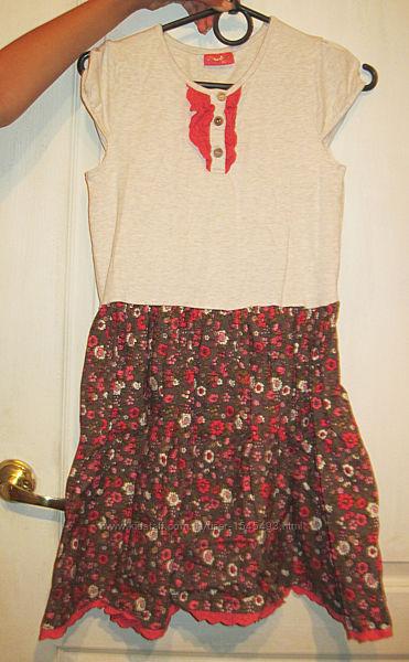 Платье с юбкой цветной
