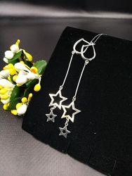 Стильные серебряные серьги подвески висюльки звездочки английская застёжка