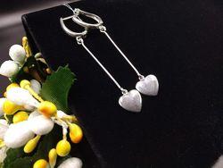 Красивые серебряные серьги подвески висюльки сердечки925 английская застёжк