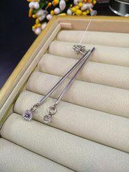 Серебряные шикарные серьги гвоздики пусеты подвески с разным размером камня