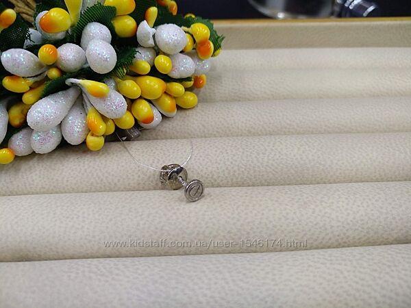 Серебряные серьги гвоздики пусеты болтики шурупы 925  пирсинг