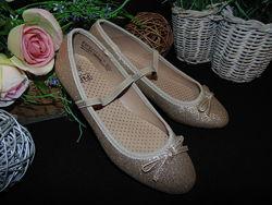 Золотистые туфельки балетки F&F