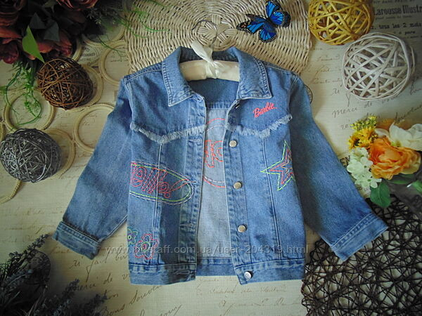 Модная джинсовая куртка Barbie с яркими элементами вышивки