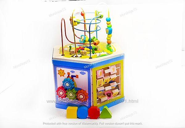 Деревянный бизиборд, игровой центр, развивающая игрушка