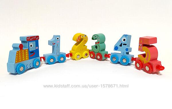 Каталка паровоз с вагончиками в виде цифр, развивающая деревянная игрушка