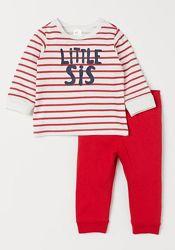 Яркий комплект пижамка H&M малышкам 12-18 месяцев 86 см
