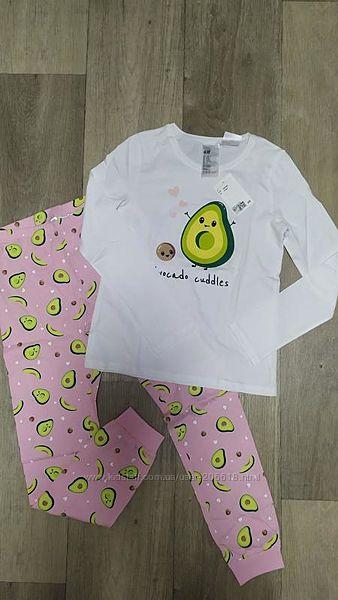 Качественная пижамка H&M авокадо хлопок девочкам 8-10 лет