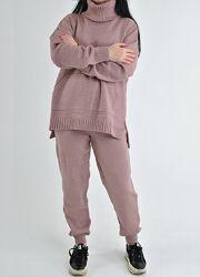 Гладкие вязаные костюмы, с удлиненным свитером