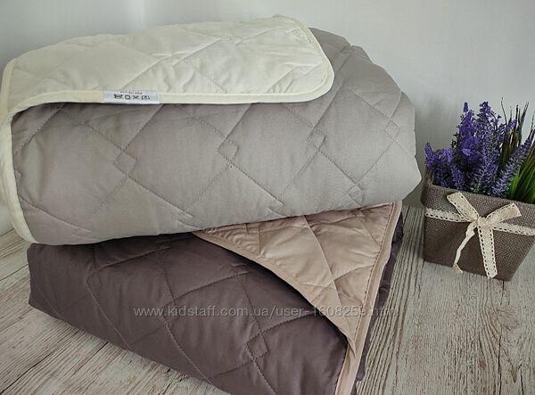 Покрывало стеганное на кровать куб тм Идея двосторонее шоколад беж серы евр