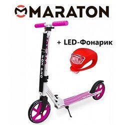 Самокат Maraton Fox Pro Розовый  Led фонарик