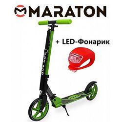 Самокат Maraton Fox Pro Зеленый  Led фонарик