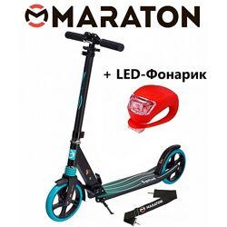Самокат Maraton Sprint зеленый  Led фонарик