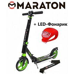Самокат Maraton Pro зеленый  Led фонарик