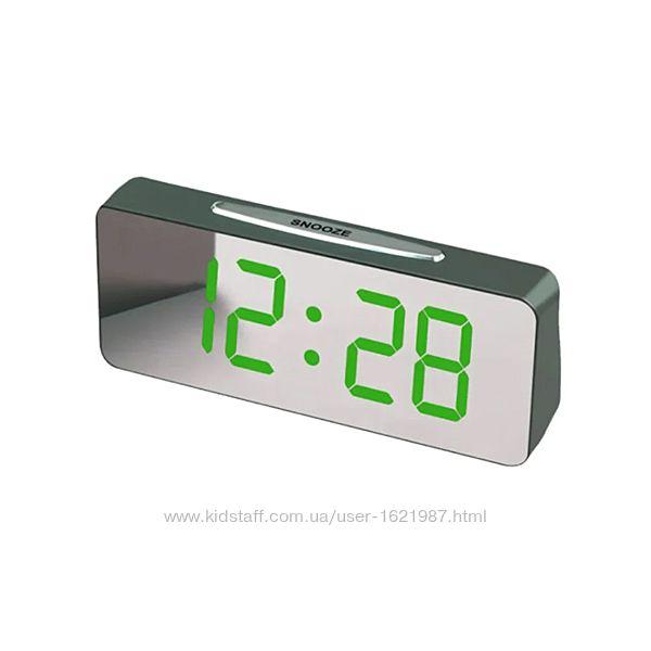 Часы электронные сетевые VST-763Y-4 Зеркальный дисплей Зеленые цифры