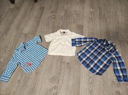 Sale. Фирменные рубашки Next, H&M, Miniclube 6мес-1,5 года