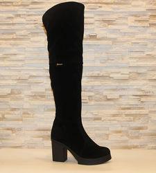 Сапоги ботфорты женские зимние черные на каблуке натуральная замша с825