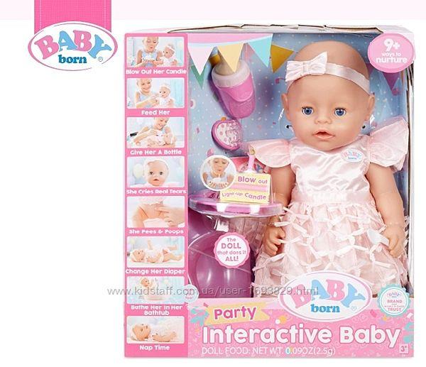 Baby Born Interactive Baby Doll Party Blue Eyes Бебі Борн Zapf Creations
